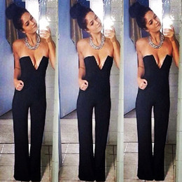 Wholesale casual strapless black jumpsuit - Wholesale- Women's Strapless Sexy V Neck Party Night Club Off Shoulder Casual One Piece Bodycon Black Slim Jumpsuit Playsuit Romper Pocket