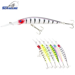 Wholesale Deep Diving Minnow - Seanlure Deep Diving Lure 14.5cm 14.7g 1pcs Pack Plastic Hard Bait Minnow Treble Hooks Fishing Tackle 6 colors Optional