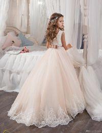 Wholesale Brown Fur Vest Kids - 2017 Vintage Flower Girl Dresses For Weddings Blush Pink Custom Made Princess Tutu Sequined Appliqued Lace Bow Kids First Communion Gowns
