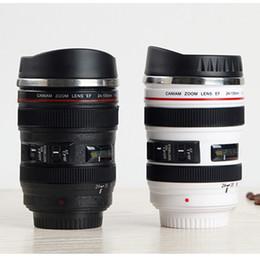 2019 caneca da lente branca Criativo 400 ML Camera Lens Caneca - Aço Inoxidável Coffee Tea Milk Cup Canecas Com Tampa (Preto Branco) caneca da lente branca barato