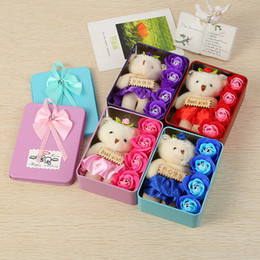 Wholesale Purple Carnations - Soap Flower Valentine Day Present Multi Color DIY Rose Flowers With Little Cute Bear Doll Gift Box 6 8my C R