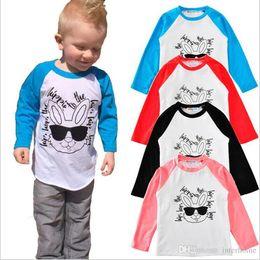 Wholesale Tank Top Kids Winter - INS Kids T Shirts Baby Letter Print Tops Animal Rabbit Shirts Girls Sunglasses Summer Tops Toddler Long Sleeve Tanks Kids Baby Clothing G165