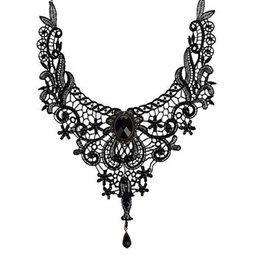 Wholesale Gothic Black Lace Necklace - Fashion Necklaces For Women Beauty Girl Handmade Jewerly Gothic Retro Vintage Lace Necklace Collar Choker Necklace bib gem chain