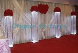 Wholesale Wholesale Columns For Weddings - Wedding walk way flower stand stage venue arylic crystal column pillar for wedding decoration
