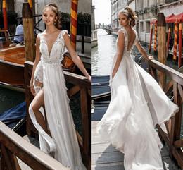 Wholesale Embellished Open Back Dress - Side Split Flowy Skirt Romantic Sexy A line Wedding Dresses 2018 Julie Vino Bridal Deep V Neck Heavily Embellished Bodice Open Back