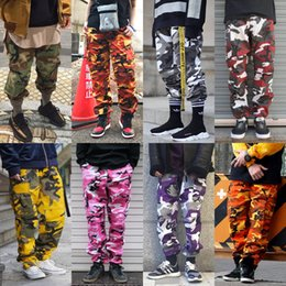Wholesale fashion cargo - Men's hip hop loose casual version side pocket FOG Kanye West Justin Bieber style Fashion Camo Cargo BDU Pants Men Women Streetwear Toursers