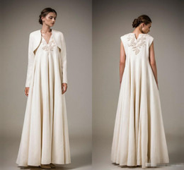 Wholesale High End Dresses Cheap - High End Modest Embroidery Evening Dresses With Jacket Long Sleeves Saudi Arabia Vintage Long Formal Mother of the Bride Dresses 2017 Cheap