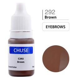 Wholesale Tattoo Eyeliners - CHUSE Permanent Makeup Ink Professional Eyeliner Tattoo Ink Set Eyebrow Microblading Pigment 10ML Brown C290 Dermatest