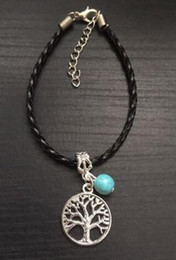 Wholesale good luck bracelets for women - 10PCS Vintage Silvers Tree Of Life Charms Chain  Weave Leather Good Luck Braclets& Bangles Gift For Women Jewelry Accessories X298