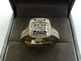 Wholesale 9ct Gold - 10k White Gold Ladies Diamond Infinity Cluster Engagement Wedding Band Ring 1CtNew 9ct Yellow & White Gold Diamond Cluster Ring