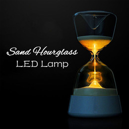 Wholesale Led Sensor Dimmer - HourGlass Night Lamp Sleep Timer with 4 Colour LED Creatives Night light Option Touchless Sensor 15 Mins Self Dimming Sleep Improvement Aid