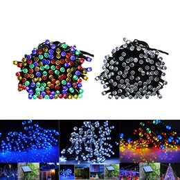 Wholesale green power lamp - 100 LED 200 LED Outdoor 8 Modes Solar Powered String Light Garden Christmas Party Tree Lamp 12M 22M LED Flash Fairy String Lights