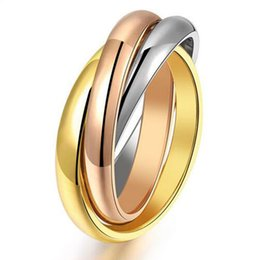 Wholesale 316l rings - New Fashion Titanium Rings for Women Three Mix Color 316L Stainless Steel Rose Gold Plated Female 3 Ring Sets Wholesale