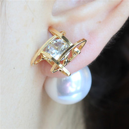 Wholesale Gold Metal Studs - 2016 design fashion brand jewelry double Imitation pearls gold silver plated Metal stud earrings for women zirconia earings