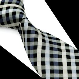 Wholesale grey neckties - T088 Free Shipping Mens Tie Neckties Checked Stripes Grey Gray White 100% Silk Jacquard Woven Brand New Casual Business Formal Wholesale