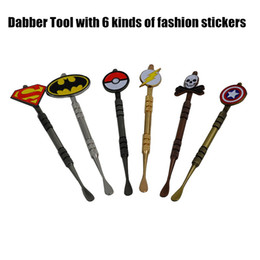 Wholesale Skulls Stickers - New Arrival 5 colors Dabber tool with fashion deign stickers Pokeball,Batman,Captain,superhero,Flash and Skull wax Dab tool 120mm Jars Tool