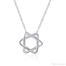 Wholesale 925 Sterling Silver Choker - Five Star Pendant Necklace Flower Pattern Charms Choker Necklace 925 Sterling Silver Plated Jewelry Cute Women Girl Accessories Fashion Gift