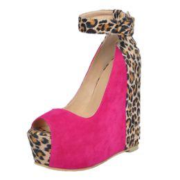 Wholesale High Comfortable Platform Wedding Shoes - Comfortable Women Wedge High Heels Open Toe Ankle Strap Leopard Platform Plus Size Women Wedding Party Korean Women Shoes