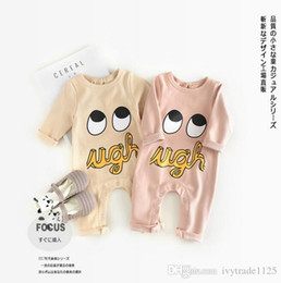 Wholesale Baby Boy Fall Clothing - INS new arrival fall baby kid climbing romper long sleeve cute eye romper o-neck girl boy kid romper baby outwear clothing jumpsuits