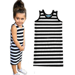 Wholesale Little Girl Suspender Style - little girl dress 2017 fashion black and white stripe kids dress girls clothes summer style suspender baby girls casual dresses