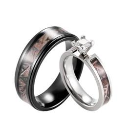 Wholesale Titanium Couple Ring Black - SHARDON Realtree Camo Engagement Wedding Ring Set Titanium Prong Setting CZ Engagement Ring with Black Men's Wedding Band