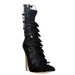 2019 black lace up pumps mulheres Zandina Womens Moda Handmade 10 cm Lace-up Banda Hi-top de Salto Alto Apontou Toe Bombas Sapatos Preto XD116 desconto black lace up pumps mulheres