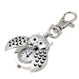 Wholesale Rings Clock - Wholesale-Novel Design Free Shipping Hot Mini Metal Key Ring owl double open Quartz Watch Clock- Silver May26