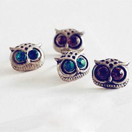 Wholesale crystal eye necklace - Retro Big Eye Owl Earrings Fashion Personality Jewelry Crystal Earrings Punk Wind Women Necklace Wholesale