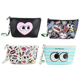 Wholesale Make Bag For Makeup - Wholesale- 2016 Korean Style Women Makeup Bag Cattoon PU Waterproof Cosmetic Bags Ladies Make Up Box for Travel Toiletry Portable Pouch