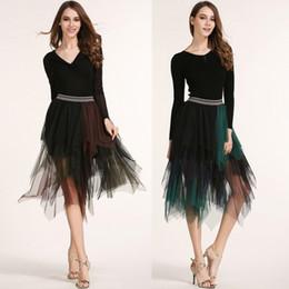 Wholesale Red Chiffon Irregular Dress - women Dress Tops 2017 spring and summer new European and American mixed colors irregular gauze skirts in dress