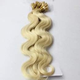 Wholesale Wavy Remy Hair Micro - Nail U Tip #613 Brazilian Virgin Remy Hair Platinum Blonde Body Wavy Micro Bead Loop Ring Hair Extensions 0.8g s 200pcs lot