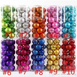 Wholesale Wholesale Ornaments Plastic - 2017 Christmas Decorations Ball 24pcs Set Bright plating Ball 8cm 10 colors Resin Tree Decorations Ball Merry Christmas With Lanyard