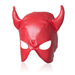 Wholesale Sex Latex For Men - Sexy Red Adult Games Latex Faux Leather Sex Mask Men and Women Animal Bondage Fetish Mask Erotic Toys Sex Products For Couples