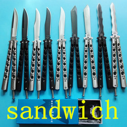 Wholesale benchmade balisong BM42 BM43 BM47 BM49 simple version sandwich jilt Free swinging SPRING LATCH xmas gift knife knives