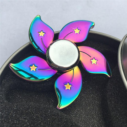 Wholesale Flower Fantasy - Flower Rainbow Fidget Spinner Zinc Alloy Hand Spinner Toys Colorful EDC Triangle Tri-spinner Decompression Toys With Retail Box