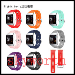Wholesale Ionic Blue - New Pattern Silicone Strap Smart Band For fitbit ionic wrist Bracelet With Stainless Steel Buckle Replace straps Bands man woman accessories