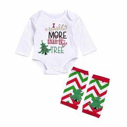 Wholesale Long Infant Socks - Mikrdoo Fashion Baby Christmas Clothes Sets Newborn Infant Long Sleeve Romper Jumpsuit +warm Socking Outfits kids Christmas Clothing