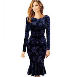 Pinup wiggle vestidos online-Nueva moda agradable para mujer de terciopelo Vintage elegante floral sirena Pinup Wiggle Business Party Bodycon vestido ajustado