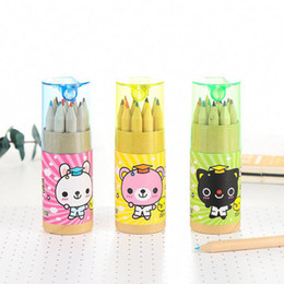 Wholesale Bear Stationery - Wholesale- Y59 12 Colors Kawaii Bear Cat Rabbit Wooden Pencil Writing Drawing Graffiti Pencil Kids Student Stationery School Office Supply
