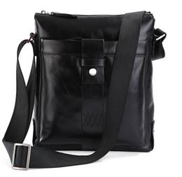 Wholesale Large Mens Messenger Bag - 100% Guarantee Genuine Leather Popular European Style Mens Fashion Shoulder Messenger Bag Handbags 7151