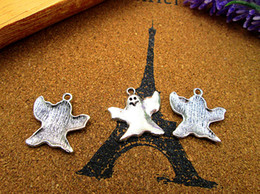 Wholesale Ghost Pendants - 75pcs-Halloween Ghost Charms, Antique Tibetan silver Ghost Charms pendants 24x23mm