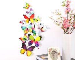 Wholesale 3d Artificial Butterflies - Rainbow Series Red Series 3D Artificial Butterfly Magnet Imitate Really Butterfly Wedding Gift Home Decoration Fridge Magnets 50set lot
