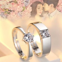 Wholesale Platinum Rings For Men - Classic Lovers Rings Sterling Silver Platinum Plated 4 Claws AAA Clear CZ Rings for Men Women for Engagement Wedding