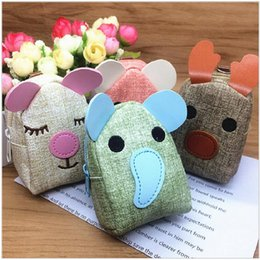 Wholesale Korean Packet - Korean version of the lovely cartoon animal embroidery PU small bag cartoon multi - functional coin packet purse