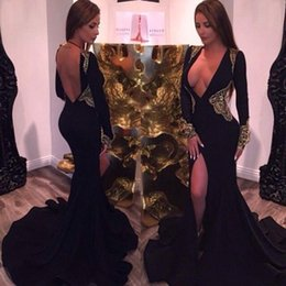Wholesale Sexy Neck Design Dress - Sexy Design Deep V Neck Long Sleeves Mermaid Prom Dresses Long 2017 Black Satin With Gold Appliques Open Back Evening Gowns