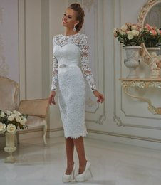 Wholesale Wedding Dresses Skirt Bodice - Elegant Short Vintage Lace Wedding Dresses Long Sleeve Crew Neck Crystal Belt Tea Length Wedding Bridal Gowns Plus Size