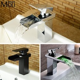 Wholesale Waterfall Faucet Led - Wholesale- Black basin faucet for bathroom oil-rubbed bronze soild brass washbasin faucets square spout waterfall tap mixer