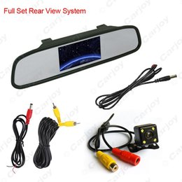 Wholesale Rear View Mirror Camera System - FEELDO 4.3inch LCD Digital Car Rearview Monitor With Mirror + CCD 4-led Reversing Camera Car Rear View System #3740