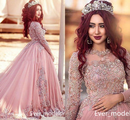 Wholesale Evening Prom Princess Dress - Blush Pink Lace Ball Gown Long Sleeves Evening Dresses 2017 Princess Muslim Prom Dresses With Beads Red Carpet Runway Dresses Custom Made