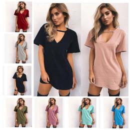 Wholesale Plus Size Christmas Shirts - Sexy Summer Dress Women T Shirt Dress V Neck Casual Fashion Dresses Women's mini Plus Size Shirt Dress KKA3363